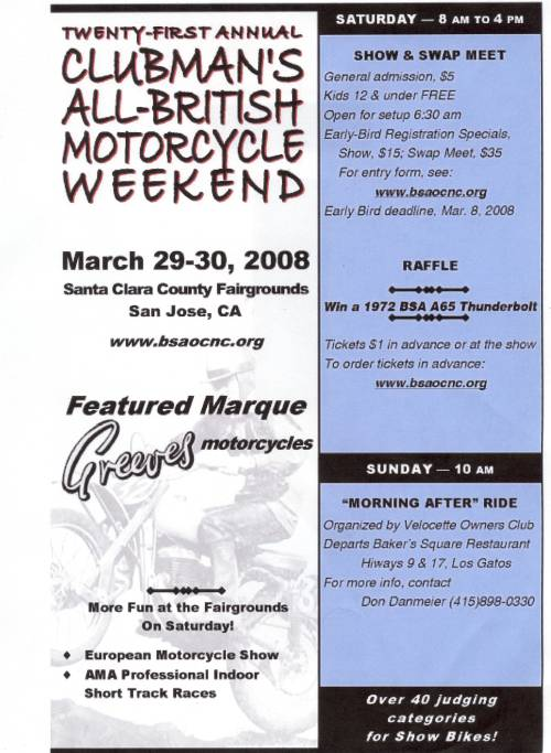 a poster for the bsa owners motorcycle show.