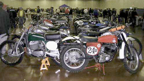 many greeves motorcycles are lined up for the bsa owners club show in san jose, california in 2008.